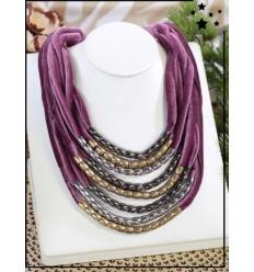 Collier multirangs - Velours et perles - Violet