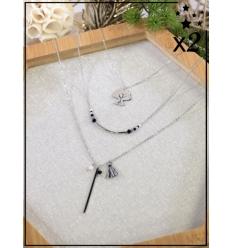 Sautoir multirangs x2 - Arbre de vie et perles - Argenté
