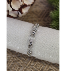 Bracelet - Strass - Perles transparentes et argentées