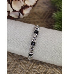 Bracelet - Strass - Perles noires et argentées