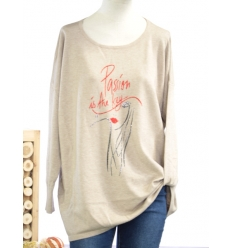 TU GT (max 46) - Pull - Strass - Passion is the key - Taupe