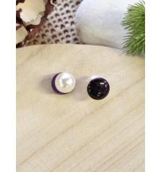 Boucles d'oreilles - Réversible - Nacré et violet