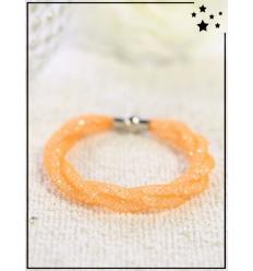 Bracelet - Cristal et nylon fin - Tressé - Orange
