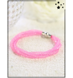 Bracelet - Cristal et nylon fin - Tressé - Rose