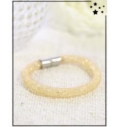 Bracelet - Cristal et nylon large - Simple - Doré