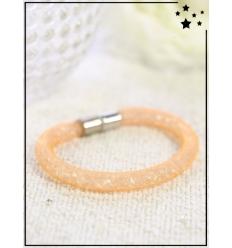 Bracelet - Cristal et nylon large - Simple - Orange