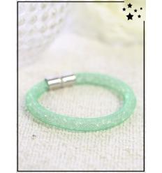 Bracelet - Cristal et nylon large - Simple - Vert