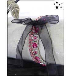 Bracelet strass - 3 rangs et ruban - Rose