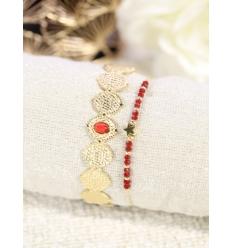 Duo bracelets (jonc et fin perles) - Rouge - Doré