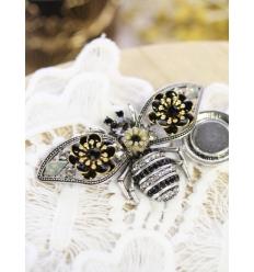 Broche aimantée - Abeille strass - Argenté, noir et doré