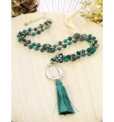 Sautoir Perles et strass - Pampille - Vert