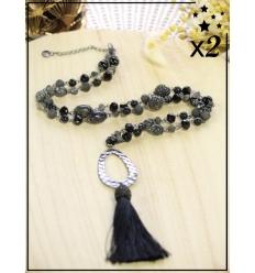 Sautoir x2 - Perles et strass - Pampille - Noir