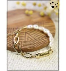 """Bracelet bohème - Cylindre """"Amour"""" - Nacré blanc et doré"""