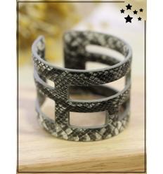Bracelet manchette - Python - Gris