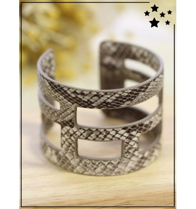 Bracelet manchette - Python - Beige