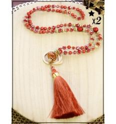 Sautoir x2 - Perles et pampille - Rouille et doré