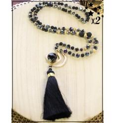 Sautoir x2 - Perles et pampille - Noir et doré