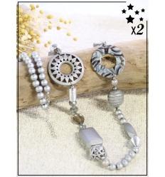 Sautoir x2 - Perles et résine - Argenté