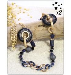 Sautoir x2 - Perles et chaînette - Marine