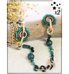 Sautoir x2 - Perles et chaînette - Vert
