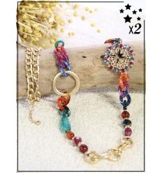 Sautoir x2 - Perles et chaînette - Multi