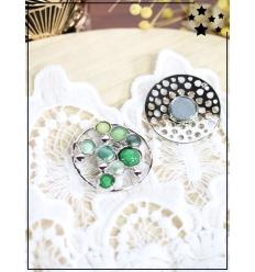 Broche aimantée - Cercles et pierres colorés - Argenté