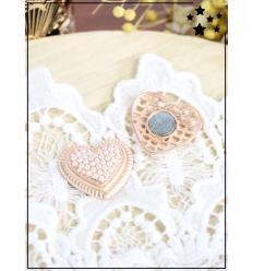 Broche aimantée - Coeur et pierre - Poudré