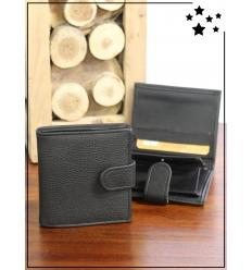 Porte-monnaie homme - Petit format - Aspect cuir - Noir