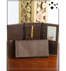Portefeuille - Aspect cuir - Chocolat