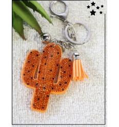 Porte-clé - Cactus - Strass - Orange